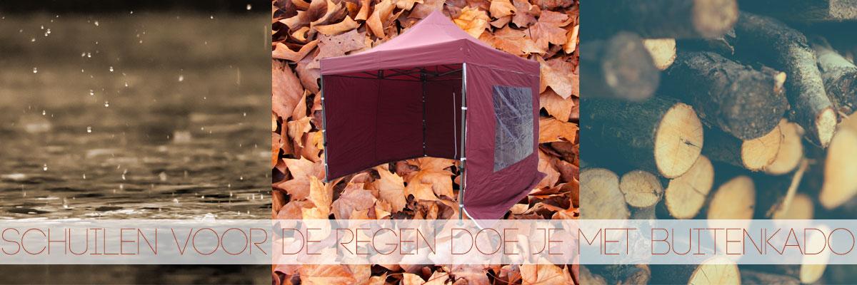 Schuil voor de regen met een easy up tent van Buitenkado
